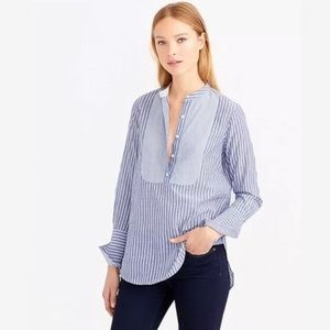 J.Crew Blue Mixed Striped Popover Tunic Blouse